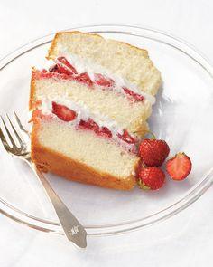 Chiffon Cake with Strawberries and Cream - Martha Stewart Recipes.