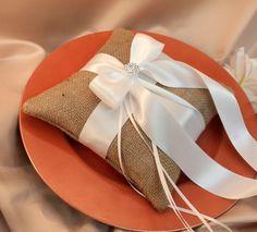 Romantic Burlap Ring Bearer Pillow with Vibrant by RomancingJuliet, $29.50