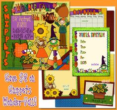 Prepare your projects for the most colorful season of the year with our 'Snippets Wonder-Fall' collection! When you buy NOW through 9/17/14, you can save $2 on this adorable download! Perfect for October smiles, Halloween, harvest, older kids & teens.