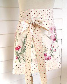 Polka dot and floral apron