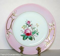 antique French Haviland Pink rose Plate victorian plate, extra plate, antiqu