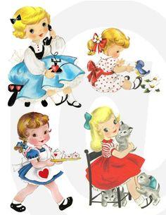 vintage little girls., vintage images, art illustr, vintag girl, vintage greeting cards