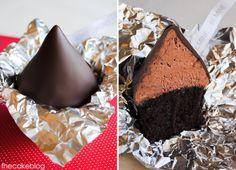 Chocolate CUPCAKES made to look like Hershey's Kisses! >> So cute! via the Tomkat Studio