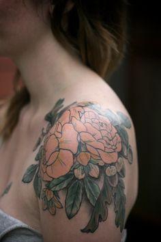 tattoo ideas, rose, tattoo flowers, color, flower tattoos, shoulder tattoos, floral tattoos