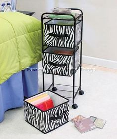 SAFARI ZEBRA STORAGE UNIT CLOTHES SHOE TOY BIN BOOK CRAFT ORGANIZER SHELF DECOR