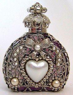 Vintage Czech Hand Made Perfume Bottle w/Topper