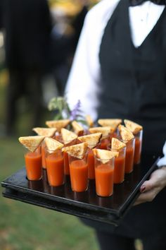 Tomato Soup Shots Outdoor Fall Charlottesville Wedding Reception at Keswick Vineyards: Renee + Ryan