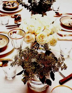 white roses, color, christmas tables, entertain, fall flower, christmas table settings, tablescap, tabl set, holiday tables