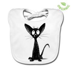 Black Oriental Cat Bib  by Paul Stickland ~ on Spreadshirt #strangestore #cats