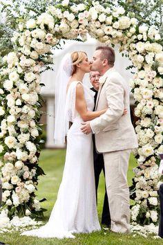 wedding ceremonies, white roses, wedding ideas, wedding planning, arbor, wedding arches, bride, flower, outdoor weddings