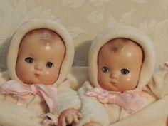 Wonderful Near Mint Vintage 1930's Effanbee Patsy Baby Twin Dolls