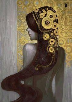 Beautiful ^.^ (inspired by Klimt, I suppose) - by an Indonesian digital illustrator called Aditya Ikranegara