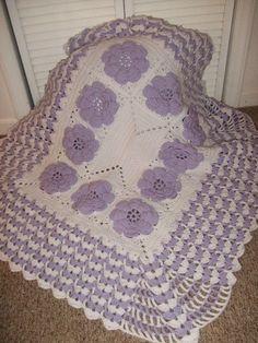Crocheted Purple Rose Baby Blanket -