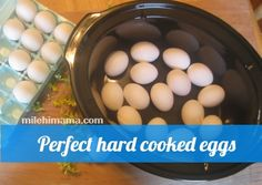 Perfect hard cooked eggs in the crock pot- no cracks, no green yolks, tender whites.
