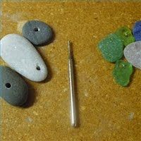 drilling sea glass, stone