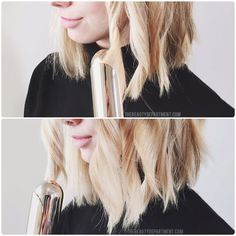 How To Style A Lob Or A Bob- DRAG THE CURLING IRON OUT! Duh! Will have to try this ASAP- Suspect it's been the secret all along!