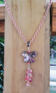 """Pretty Pink Butterfly"" necklace & earrings set"