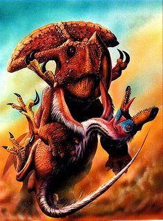 Velociraptor atacando a un Protoceratops, Luis Rey.