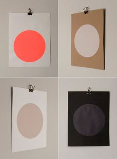 a two-in-one pin: simple prints and hanging them with binder clips / screenprints by sandra thomsen on etsy.