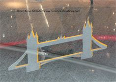 Tower Bridge--from a mobil at Franfurt Airport.  Tower Bridge (built 1886–1894) is a combined bascule and suspension bridge in London, over the River Thames. It takes its name form the nearby Tower of London.  It has become an iconic symbol of London, England.  We have visited this site several times.