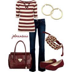 fashion, game day outfits, burgundi gold, style idea, cloth idea