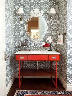 red vaniti, pattern, powder bath, venetian mirrors, small bathrooms, bathroom designs, sink, bold colors, powder rooms