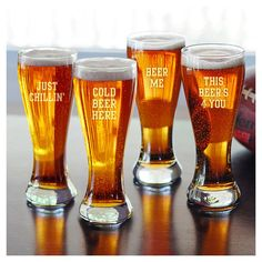 "4 Piece Cold Beer Pilsner Glass Set - another great gift idea... Perhaps for a ""Couples Bridal Shower."""