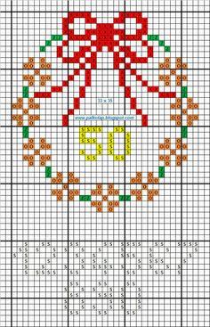 wreath cross stitch with numbers point de croix punta cruz virágkoszorú_b