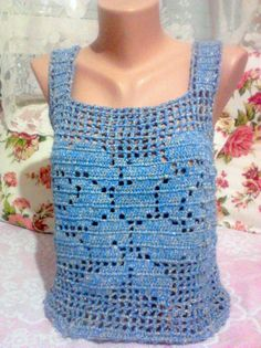 Hand Crochet Blue Top Tank Halter Rose Patterned by sebsurer, $65.00