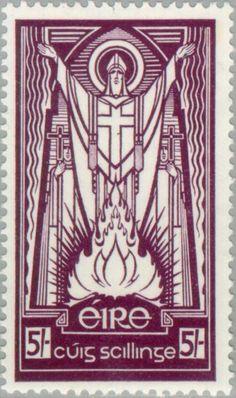 Old Irish stamp of St. Patrick. From blog on Catholic Ireland ... http://corjesusacratissimum.org/2013/04/entering-catholic-ireland/