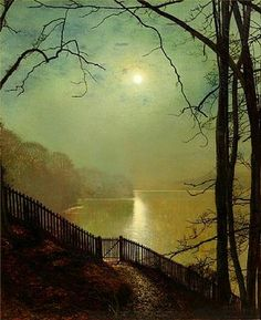 John Atkinson Grimshaw - Moonlight on the Lake, Roundhay Park, Leeds