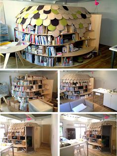 bookcase Bedroom: Most parents want to surround their children with books, but most don't take that advice quite so literally. This bookcase bedroom designed by Point Architects in Tokyo is a great example of a Japanese approach to space-saving interior design: why have walls or bookshelves when you can have both in one?