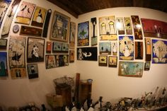 Corner shot of Walt Hall's art at Cactus Gallery.