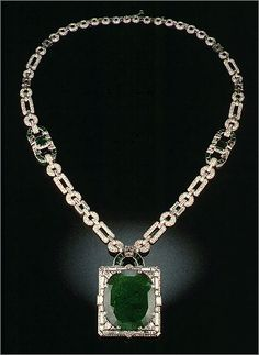 The Anna Case McKay Necklace    The Smithsonian's gem and mineral collection includes a number of exceptional emeralds. Particularly notable is the 168-carat Columbian pendant of the Anna Case McKay necklace. It may be the largest fine-gem emerald that is set in a piece of jewelry. Smithsonian's National Museum of Natural History