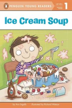 ER ING. Look at what I can make, I can make an ice cream cake! One scoop, two scoops, ice cream goop. I think I made some ice cream soup!