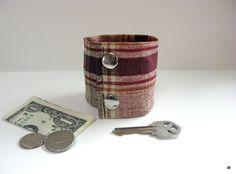 Money Cuff Wrist Wallet Secret Stash Burgandy by bluepiedesigns, $15.00