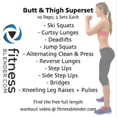 Best Butt Workout to Build a Booty and Tone Thighs - Find the free full length workout video @ www.fitnessblender.com