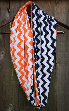 Infinity Scarf // Navy Blue/Orange Chevron Jersey Knit by twelve2....da bears