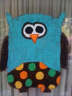 Turquoise Owl Burlap Door Hanger - $30 by Goodnight Big Moon on Etsy