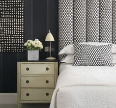 Black and white fabric hotel room