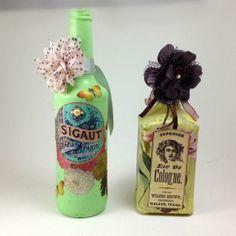 Altered bottles using decoupage medium