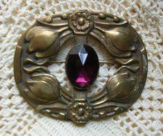 Antique Victorian Art Nouveau Brass Brooch
