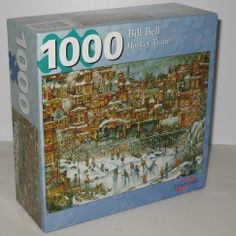 1000 piece Hockey Train jigsaw featuring artwork by Bill Bell. Perfect for any puzzle fan who loves trains, hockey and skating. #puzzles #trains #hockey #billbell
