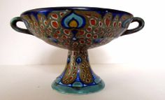 DUTCH ART DECO GOUDA HOLLAND PZH FOOTED VASE COMPOTE 1910 PEACOCK FEATHERS DECOR