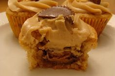 Peanut Butter Brownie Cups with Peanut Butter Frosting