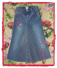 Girls Long Jean Skirt Girls Size 10 by EastCoastSkirts on Etsy, $15.00