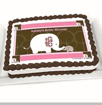 Pink Baby Elephant - Personalized Baby Shower Cake Image Topper