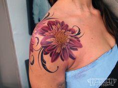 colorful rose shoulder tattoos