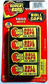 Roll caps for toy cap guns