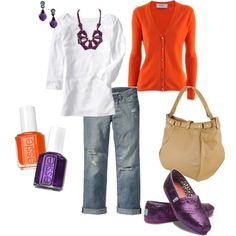 Clemson tailgating.  love the shirt, cardigan and nail polish, but would choose different jewelry